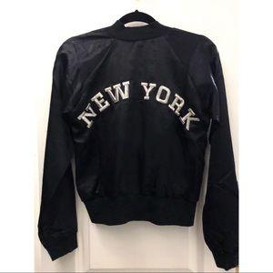 "LF Black satin ""New York"" bomber jacket"